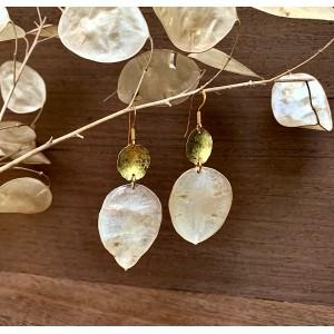 Autumn white leaf earrings