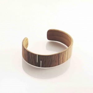 Striped wooden bracelet with silver