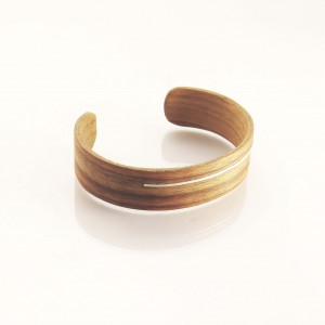 Padoek wooden bracelet with silver