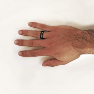 Wooden ring with silver