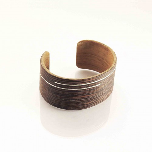 Wenge wooden bracelet with silver