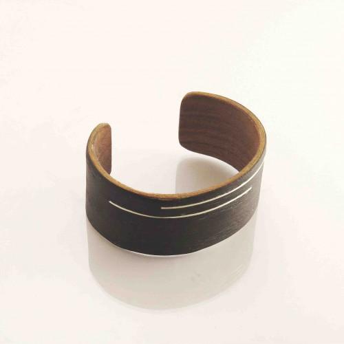 Black wooden bracelet with silver