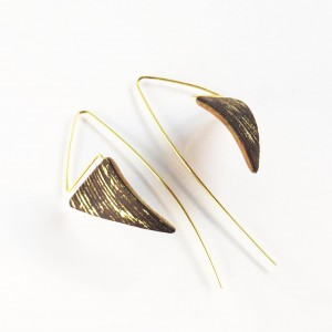 Gilded wooden earrings