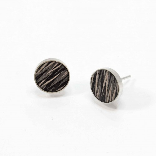 Braided-wooden ear studs