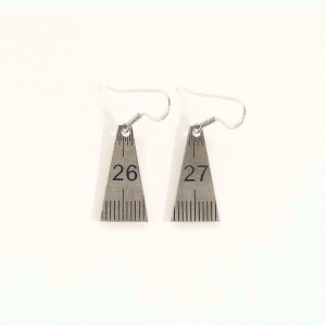 Measuring plate earrings triangular