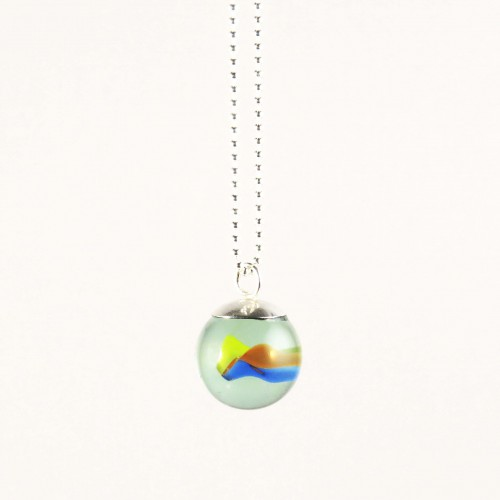 Marble necklace yellow red blue