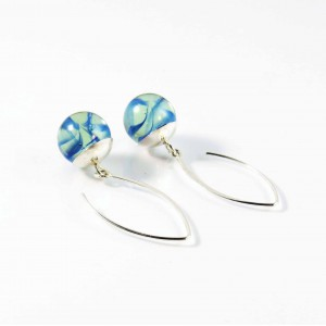 Marble earrings blue