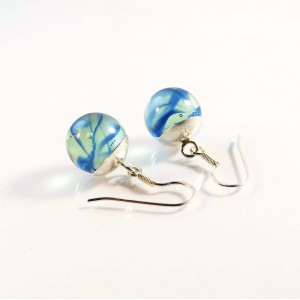 Marble earrings blue short