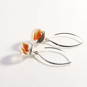 Marble earrings orange
