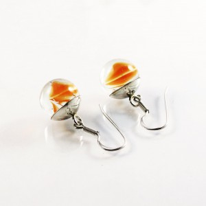 Marble earrings orange short