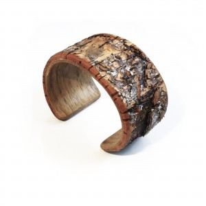 Wooden bracelet with tree bark