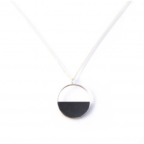 Black wooden necklace semicircle
