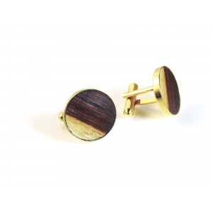 Cufflinks with brown-yellow wood