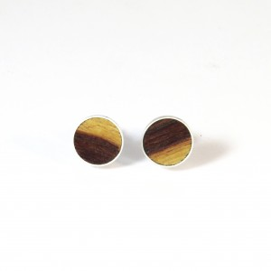 Brown-yellow wooden ear studs