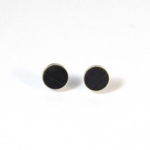 Black wooden ear studs