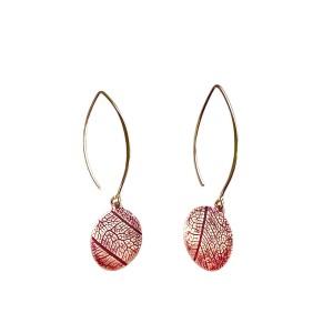 leaf vein earrings red