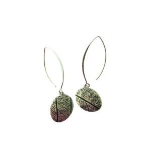 leaf vein earrings black