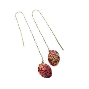 Red leaf vein earrings 2