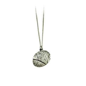 Leaf vein necklace black