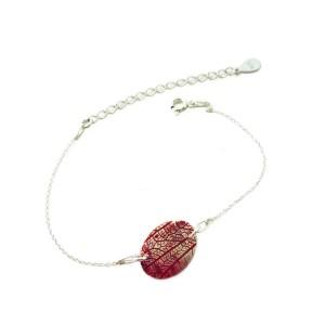 Leaf vein bracelet red